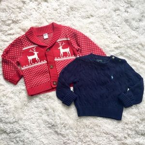 Lot 2 Toddler boy cable knit sweaters holiday